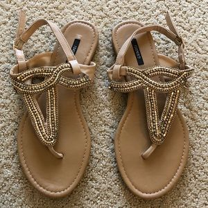 Brown Beaded Sandals